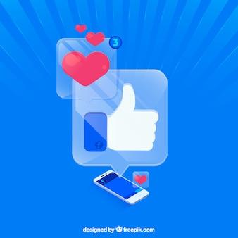 Facebook come e il cuore di fondo