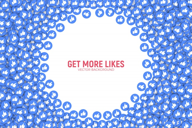 Facebook like icons 3d conceptual abstract background