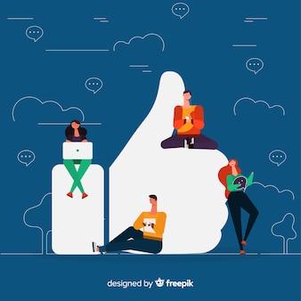 페이스 북 좋아요. 소셜 미디어에 십대. 캐릭터 디자인.