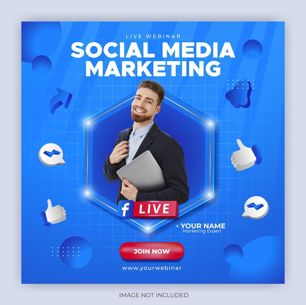 Facebook live streaming post template for business marketing