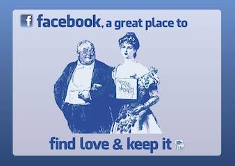 Facebook Love Cartoon Vector