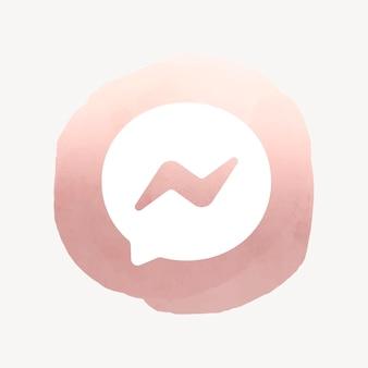 Вектор значок приложения facebook messenger с акварельным графическим эффектом. 2 августа 2021 года - бангкок, таиланд