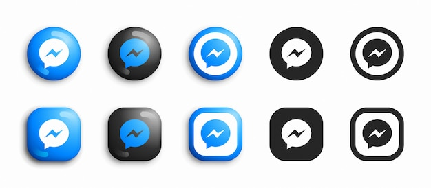 Facebook messenger modern 3d and flat icons