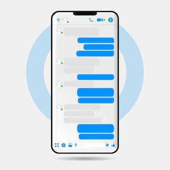 Дизайн пользовательского интерфейса для мессенджера facebook премиум векторы