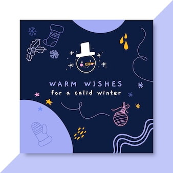 Facebook post template of doodle colorful winter drawing