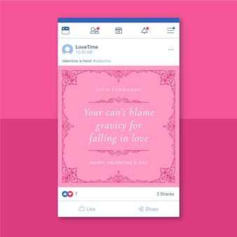 Facebook post valentine's day template