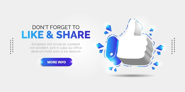 Facebook promotion design for likes and subscribers.