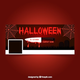 Facebook red halloween cover with a knife