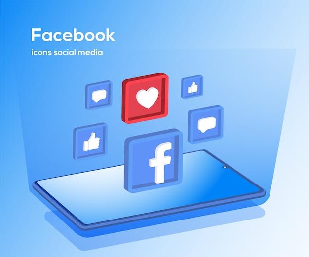 Иконки социальных сетей facebook с символом смартфона