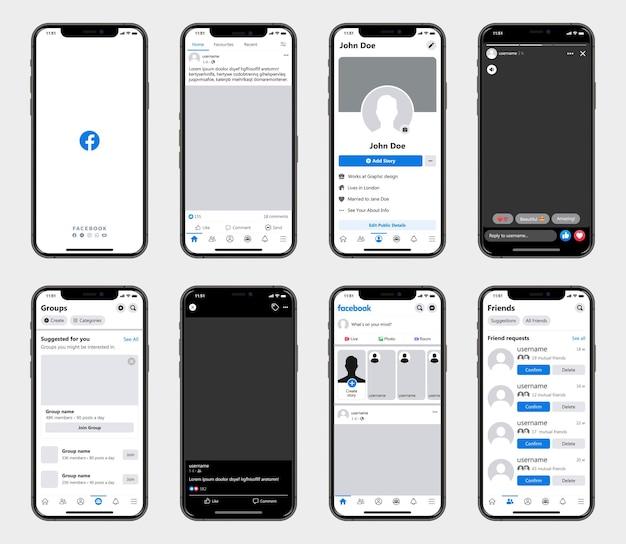 Шаблон интерфейса социальной сети facebook на смартфонах. макет социальной сети facebook