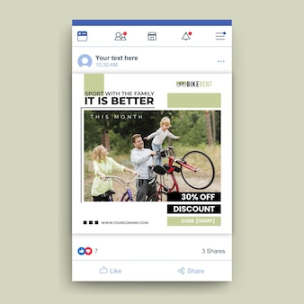 Facebook sport post template with photo
