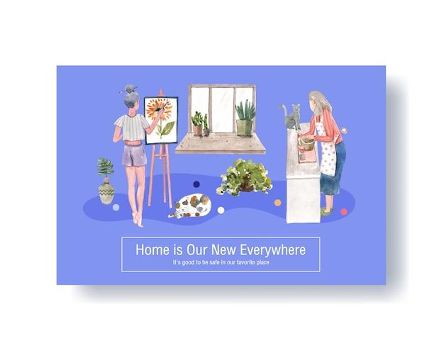 Концепция дизайна шаблона facebook остается дома с иллюстрацией людей характера и интерьера комнаты акварелью