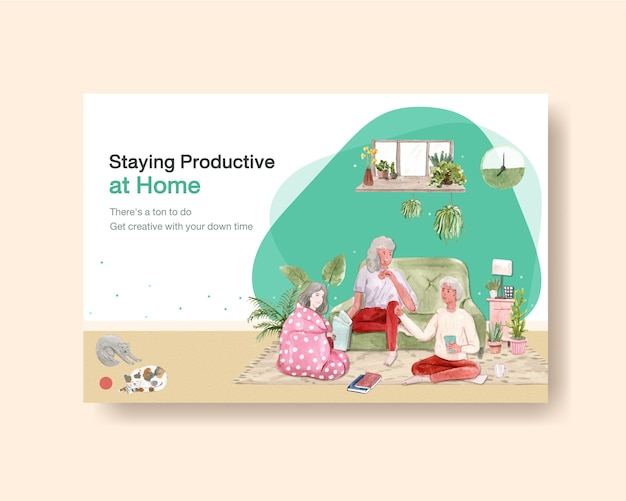 Facebook template design stay at home concept with people character and interior room watercolor illustration