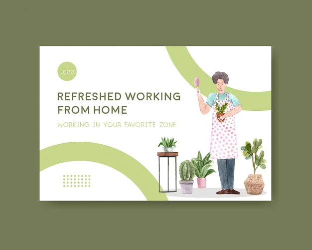 Facebook template design with people are working from home and green plants. home office concept watercolor illustration