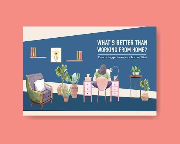 Facebook template design with people are working from home. home office concept watercolor illustration
