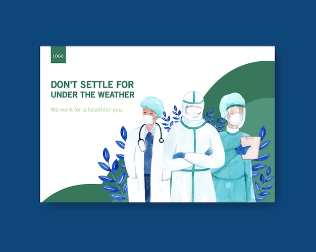 Facebook template illness concept design with people and doctor characters infographic symptomatic watercolor illustration