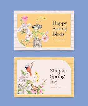Modello di facebook impostato con uccelli e concetto di primavera