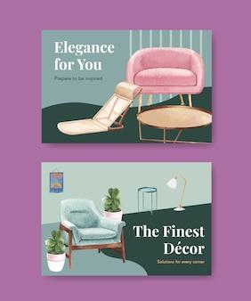 Набор шаблонов facebook с роскошной мебелью в акварельном стиле