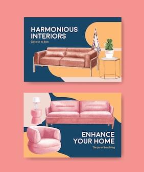 Modello di facebook impostato con mobili di lusso in stile acquerello