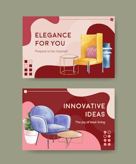 Facebook template set with luxury furniture in watercolor style
