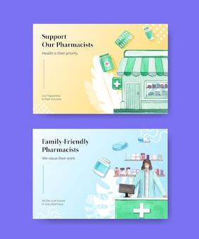 Modello di facebook impostato con la giornata mondiale dei farmacisti in stile acquerello