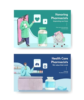 Facebook template set with world pharmacists day in watercolor style
