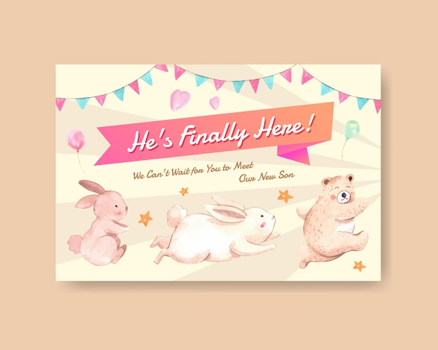 Facebook template with baby shower design concept for social media and online marketing watercolor vector illustration.