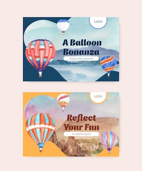 Modello di facebook con palloncino fiesta concept design per il marketing digitale e l'illustrazione dell'acquerello dei social media