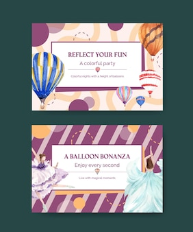 Facebook template with balloon fiesta concept design for digital marketing and social media watercolor illustration