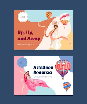 Facebook template with balloon fiesta concept design for digital marketing and social media watercolor vector illustration