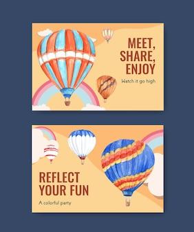 Шаблон facebook с концептуальным дизайном фиесты воздушного шара для цифрового маркетинга и акварельной иллюстрации в социальных сетях