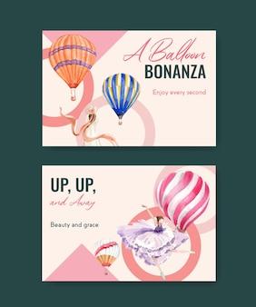 デジタルマーケティングとソーシャルメディアの水彩ベクトル図のバルーンフィエスタコンセプトデザインのfacebookテンプレート