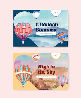 디지털 마케팅 및 소셜 미디어 수채화 벡터 일러스트 레이 션을위한 풍선 축제 컨셉 디자인 페이스 북 템플릿