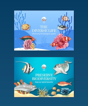 Facebook template with biodiversity as natural wildlife species or fauna protection