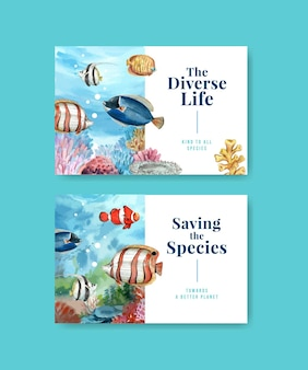 自然の野生生物種または動物保護としての生物多様性を備えたfacebookテンプレート
