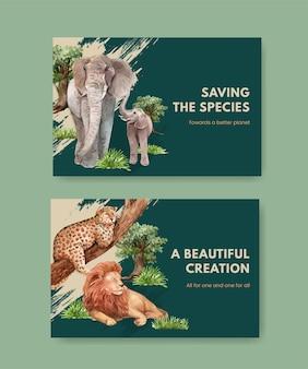자연 야생 생물 종 또는 동물 보호와 같은 생물 다양성이 포함 된 facebook 템플릿