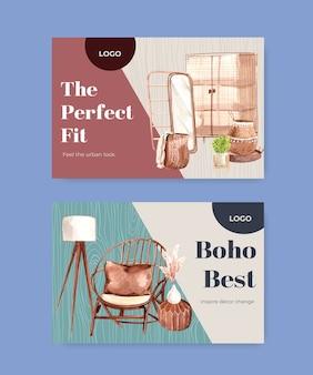 Шаблон facebook с концептуальным дизайном мебели в стиле бохо для социальных сетей и акварельной иллюстрацией онлайн-маркетинга