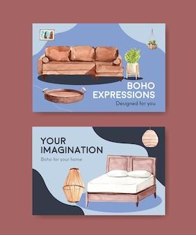 Modello di facebook con concept design di mobili boho per social media e illustrazione dell'acquerello di marketing online