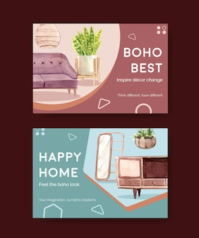 Facebook template with boho furniture concept design for social media and online marketing watercolor illustration