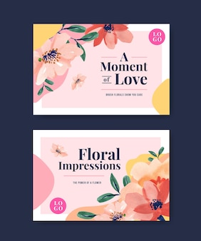 Facebook template with brush florals concept design for social media and community watercolor