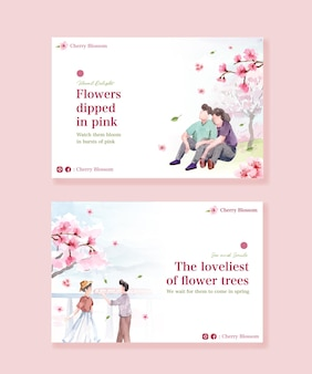 Facebook template with cherry blossom concept design for social media and community watercolor illustration