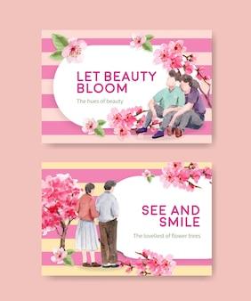 Modello di facebook con concept design di fiori di ciliegio per social media e illustrazione dell'acquerello della comunità