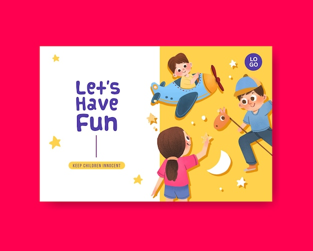 Facebook template with children's day concept design