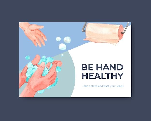 グローバルな手洗いの日のコンセプトデザインのfacebookテンプレート