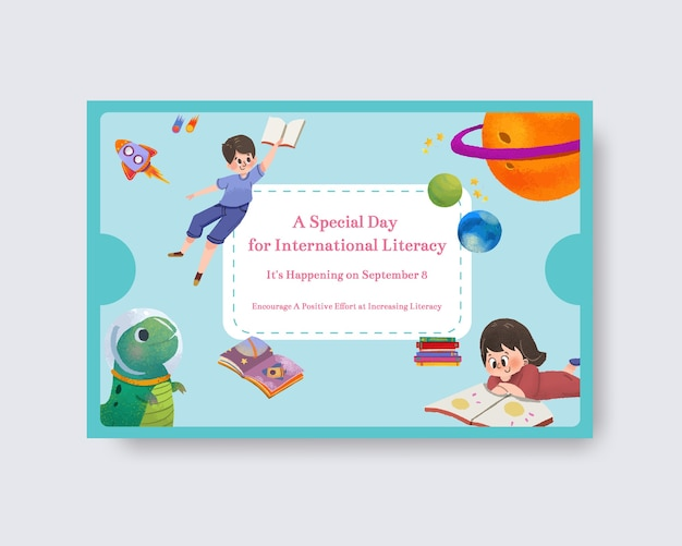 オンラインマーケティングのための国際識字デーのコンセプトデザインを含むfacebookテンプレート