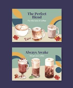 Шаблон facebook с концепцией корейского стиля кофе для социальных сетей и акварели онлайн-маркетинга