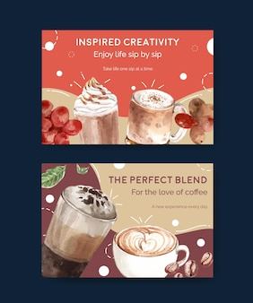 ソーシャルメディアとオンラインマーケティングの水彩画のための韓国のコーヒースタイルのコンセプトを持つfacebookテンプレート
