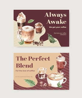 Facebook template with korean coffee style  concept for social media and online marketing watercolor