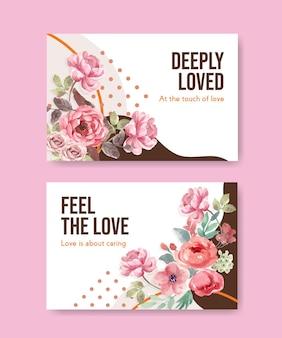 소셜 미디어 및 온라인 커뮤니티 수채화 일러스트를위한 사랑 피는 컨셉 디자인 페이스 북 템플릿