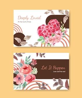 ソーシャルメディアとオンラインコミュニティの水彩イラストのための愛が咲くコンセプトデザインのfacebookテンプレート